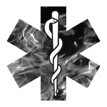 Load image into Gallery viewer, Grey Fire Star Of Life Reflective Vinyl Decals