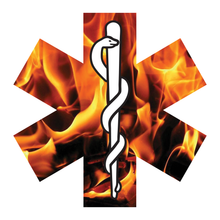 Load image into Gallery viewer, Orange Fire Star Of Life Reflective Vinyl Decals