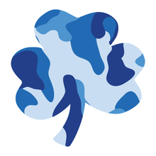 Load image into Gallery viewer, Blue Woodland Camouflage Helmet Shamrock Reflective Vinyl Decals