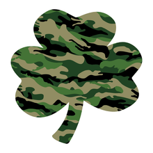 Load image into Gallery viewer, Green Woodland Camouflage Helmet Shamrock Reflective Vinyl Decals