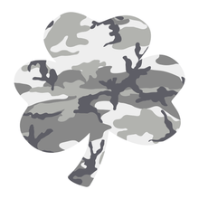 Load image into Gallery viewer, Grey Woodland Camouflage Helmet Shamrock Reflective Vinyl Decals