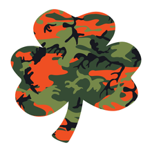 Load image into Gallery viewer, Orange Woodland Camouflage Helmet Shamrock Reflective Vinyl Decals
