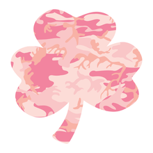 Load image into Gallery viewer, Pink Woodland Camouflage Helmet Shamrock Reflective Vinyl Decals