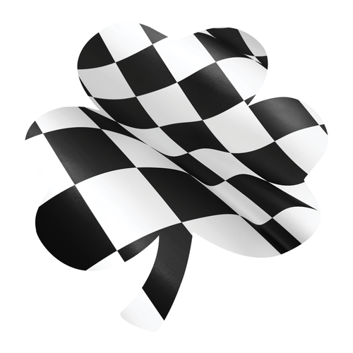 Checkered Flag Shamrock Reflective Vinyl Decals