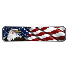 Load image into Gallery viewer, Reflective Vinyl Firefighter Helmet Trim Stripe Marker Decals, Wavy USA Flag with Bald Eagle Background