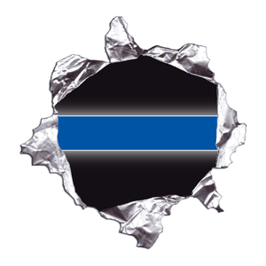 Thin Blue Line Metal Rip Reflective Decals