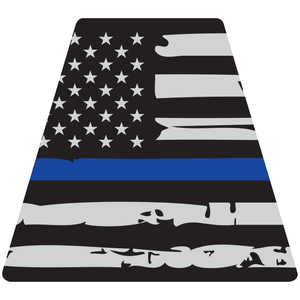 Reflective Vinyl Fire Helmet standard sized Tetrahedron Trapezoid, Distressed USA Flag with Thin Blue Line Background
