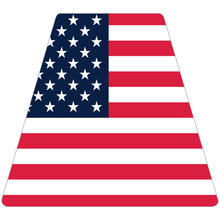 Load image into Gallery viewer, Reflective Vinyl Fire Helmet standard sized Tetrahedron Trapezoid with Flat USA Flag Background