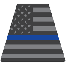 Load image into Gallery viewer, Reflective Vinyl Fire Helmet standard sized Tetrahedron Trapezoid, Subdued USA Flag with Thin Blue Line Background