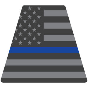 Reflective Vinyl Fire Helmet standard sized Tetrahedron Trapezoid, Subdued USA Flag with Thin Blue Line Background