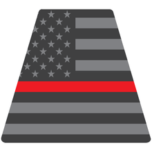 Load image into Gallery viewer, Reflective Vinyl Fire Helmet standard sized Tetrahedron Trapezoid, Subdued USA Flag with Thin Red Line Background