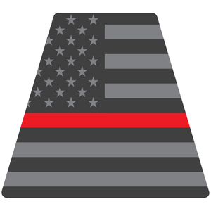 Reflective Vinyl Fire Helmet standard sized Tetrahedron Trapezoid, Subdued USA Flag with Thin Red Line Background
