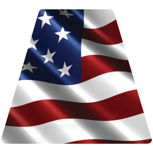 Reflective Vinyl Fire Helmet standard sized Tetrahedron Trapezoid with Wavy USA Flag Background