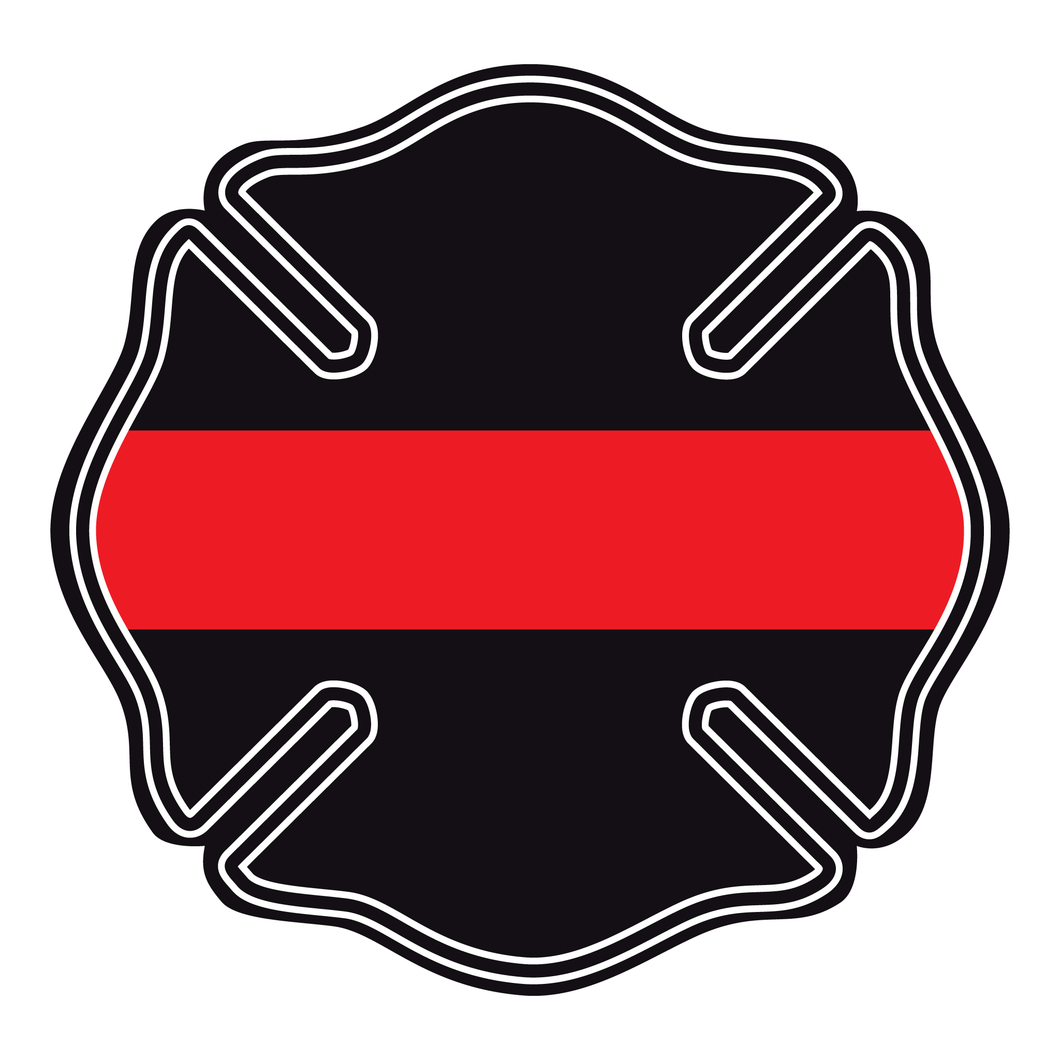 Thin Red Line Maltese Cross Reflective Decals