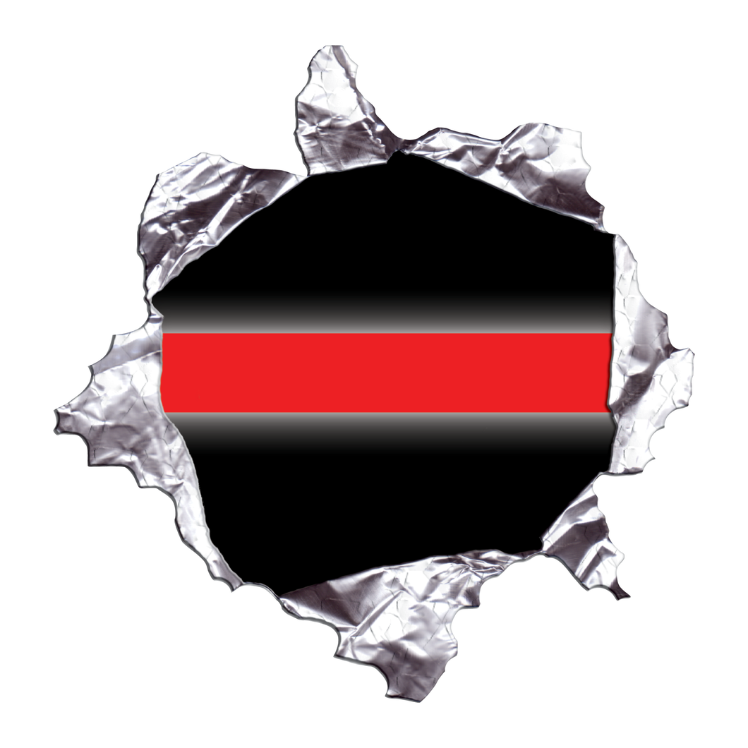 Thin Red Line Metal Rip Reflective Decals