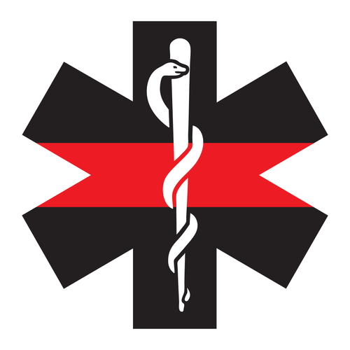 Thin Red Line Star Of Life Reflective Decals - Fire Safety Decals