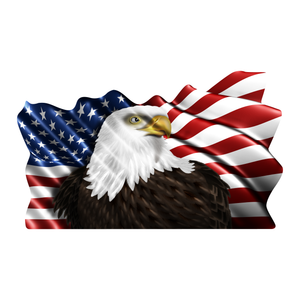 Eagle with Wavy American Flag Reflective Vinyl Decal
