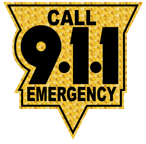 Call 911 Black and Gold Leaf Style Reflective Vinyl Decals