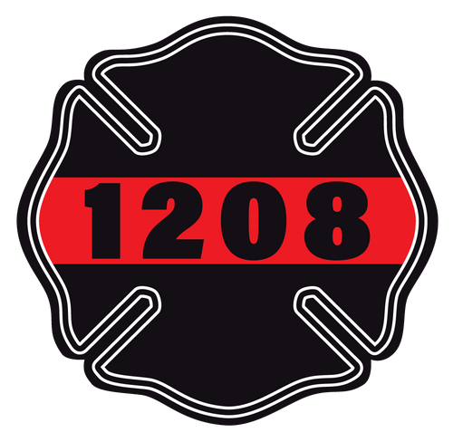 Custom #1208 Thin Red Line Maltese Cross Reflective Decals - Fire Safety Decals