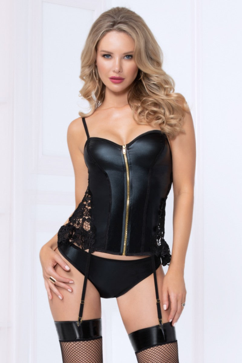 Seven Til Midnight Two Piece Wet Look Bustier Set