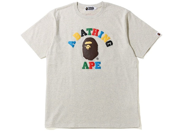 BAPE Multi Color Letters College Tee Grey