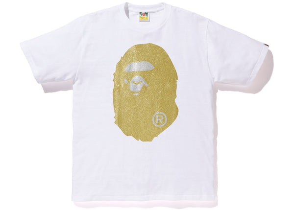 BAPE Glitter Big Ape Head Tee White/Gold