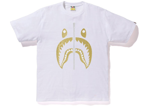 BAPE Glitter Shark Tee White/Gold