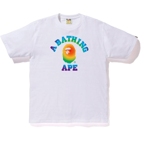 BAPE Rainbow College Tee White