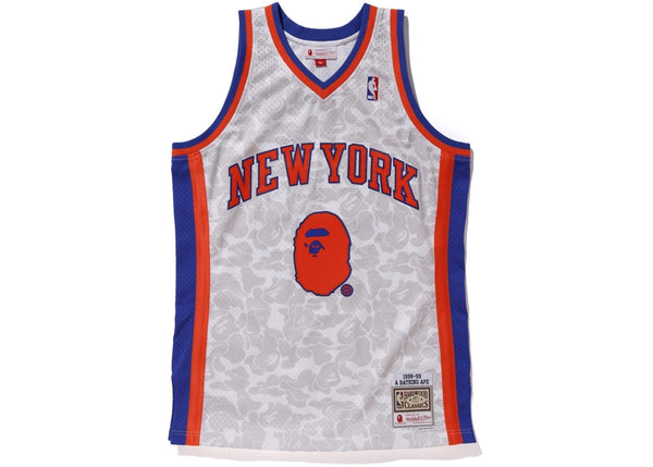 BAPE x Mitchell & Ness Knicks ABC Basketball Swingman Jersey White