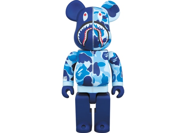 Bearbrick x BAPE Camo Shark 400% Blue