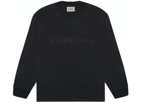 FEAR OF GOD ESSENTIALS 3D Silicon Applique Boxy Long Sleeve T-Shirt Dark Slate/Stretch Limo/Black