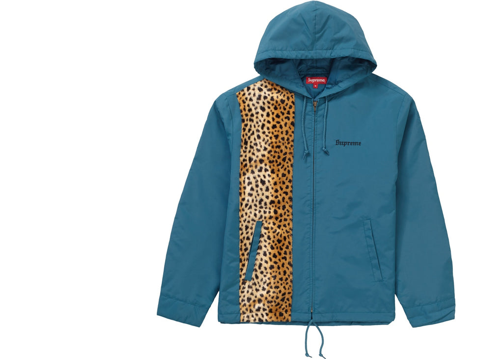 Supreme Cheetah Hooded Station Jacket Dark Slate
