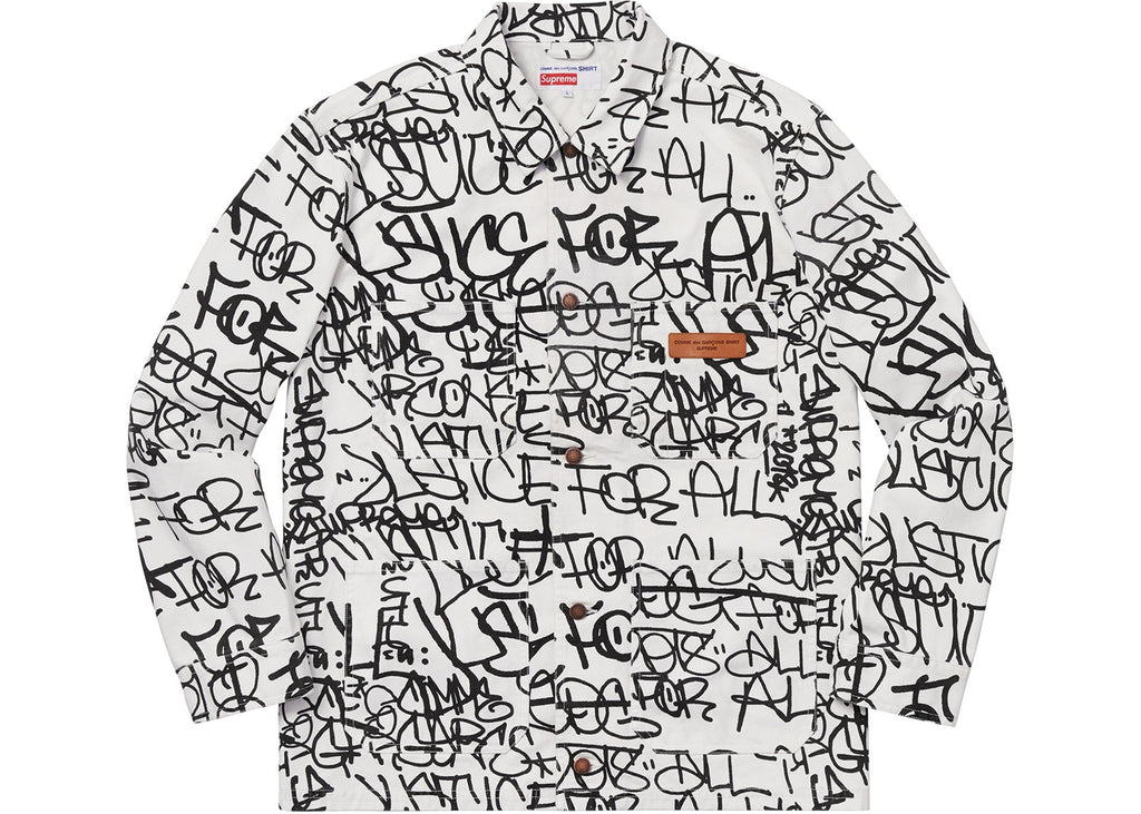 Supreme Comme des Garcons SHIRT Printed Canvas Chore Coat White