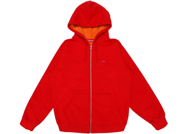 Supreme Contrast Zip Up Hooded Sweatshirt Red