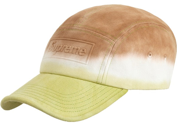 Supreme Embossed Denim Camp Cap Brown Dip Dye