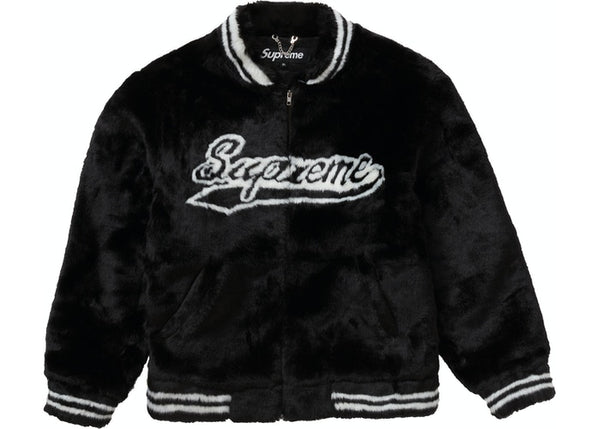 Supreme Faux Fur Varsity Jacket Black