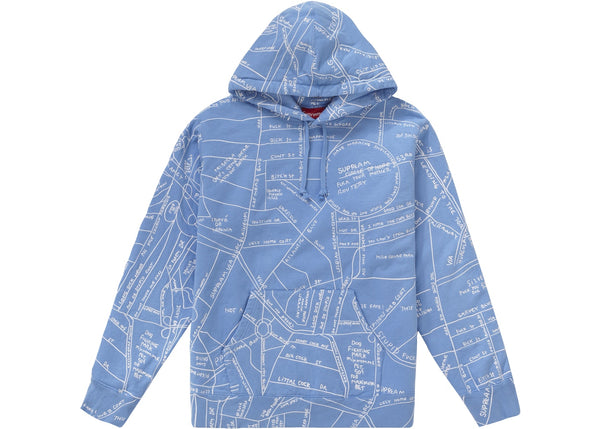 Supreme Gonz Embroidered Map Hooded Sweatshirt Columbia Blue
