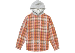 Supreme Hooded Jacquard Flannel Shirt Orange