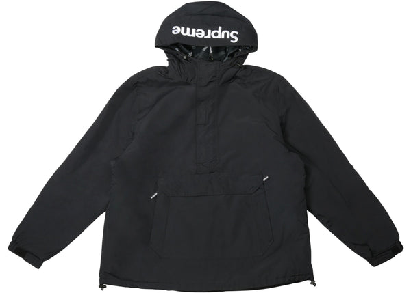 Supreme Hooded Logo Half Zip Pullover Black