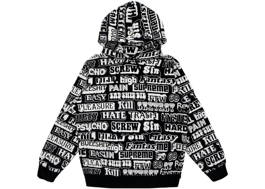 Supreme Hysteric Glamour Text Hoodie Black