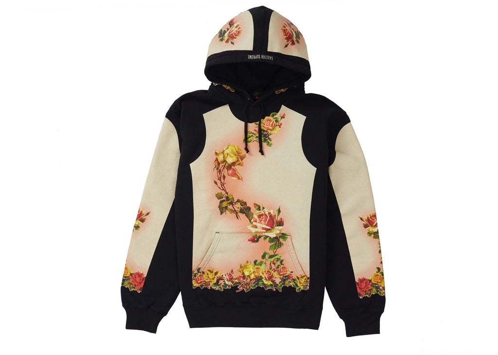 Supreme Jean Paul Gaultier Floral Print Hooded Sweatshirt Black
