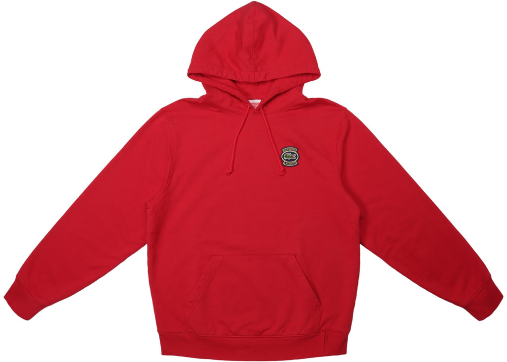 Supreme LACOSTE Hooded Sweatshirt Red