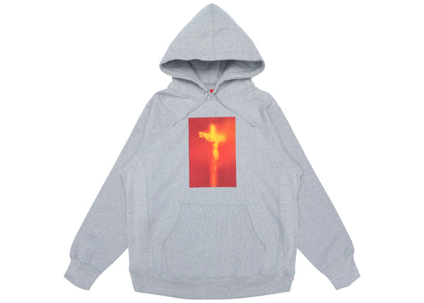 Supreme Piss Christ Hooded Sweatshirt Heather Grey
