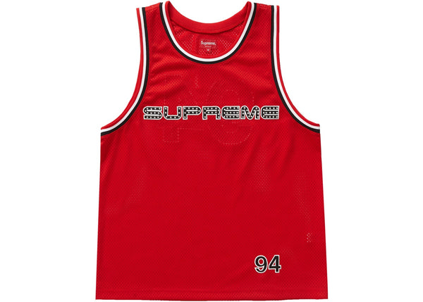Supreme Rhinestone Basketball Jersey Red
