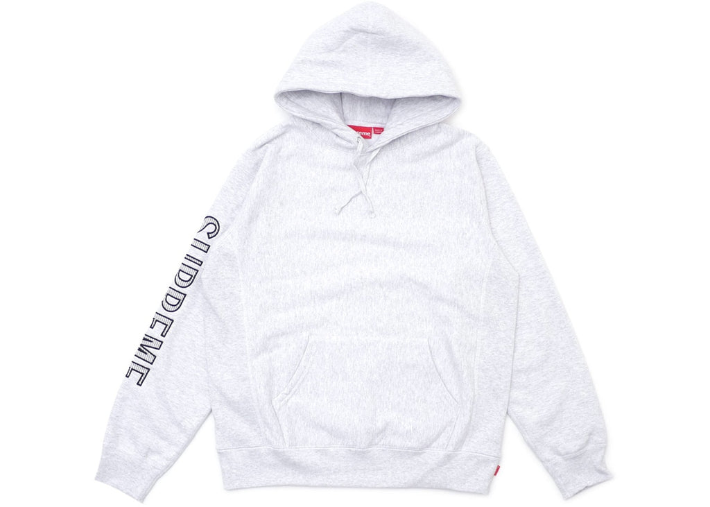 Supreme Sleeve Embroidery Hooded Sweatshirt Ash Grey