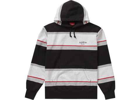 Supreme Stripe Hooded Sweatshirt Black