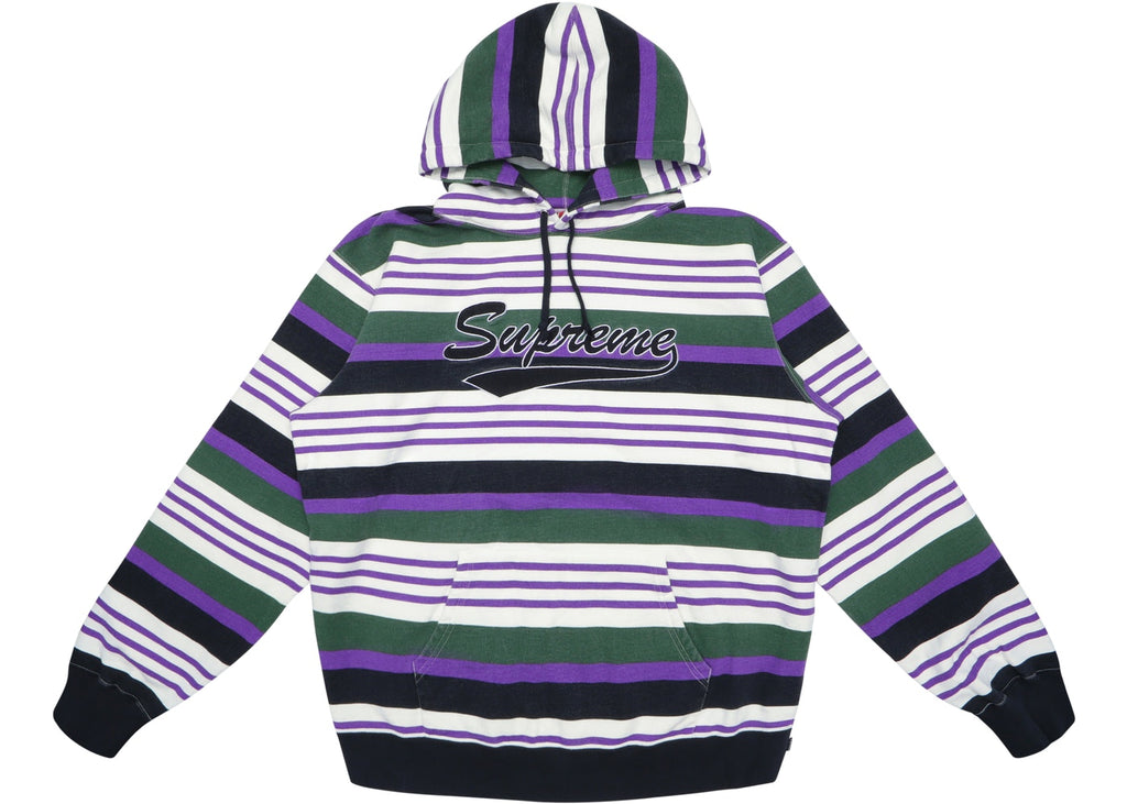 Supreme Striped Hooded Sweatshirt Purple