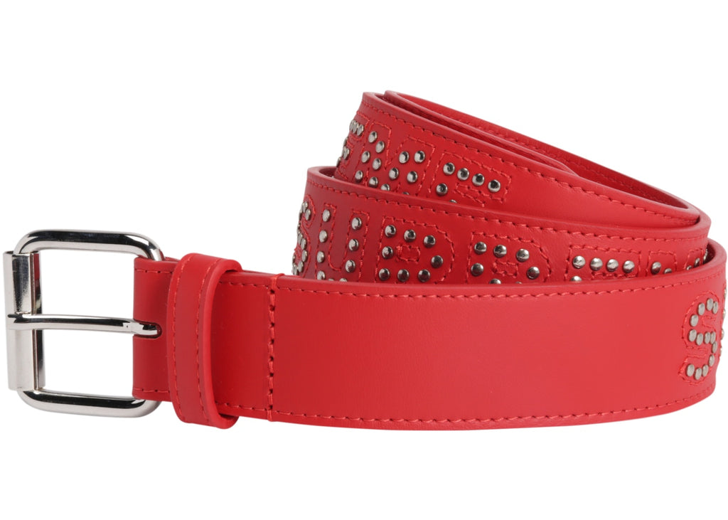 Supreme Studded Logo Belt Red