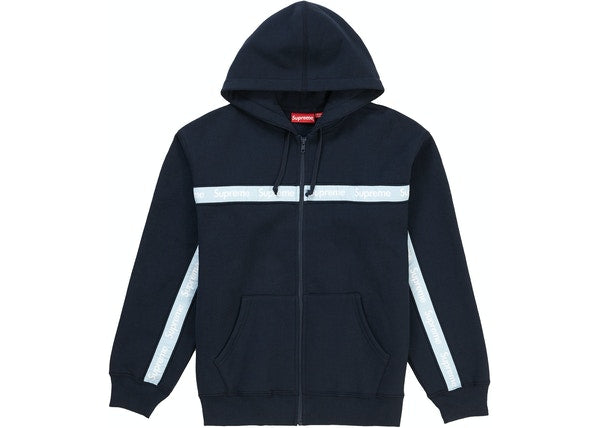 Supreme Text Stripe Zip Up Hooded Sweatshirt Navy