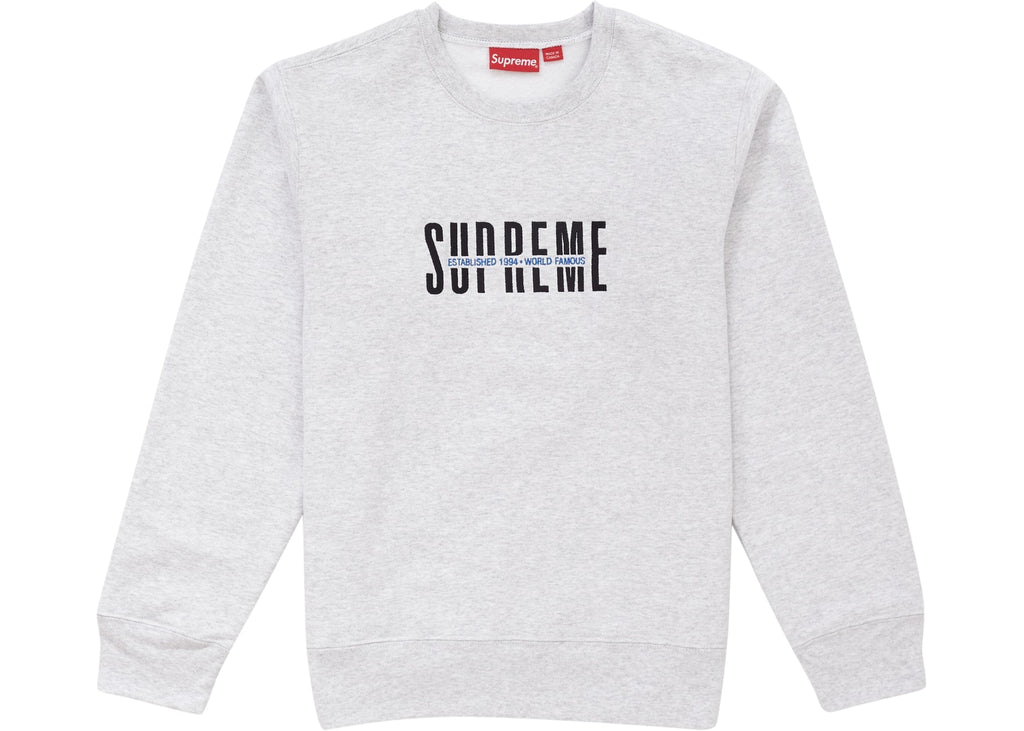 Supreme World Famous Crewneck Ash Grey
